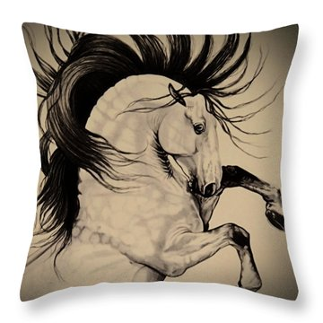 Spanish Horses Throw Pillow by Cheryl Poland