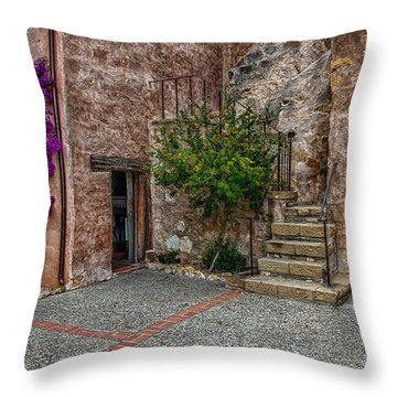 Spanish Mission's Back Entrance.  Throw Pillow
