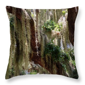 Throw Pillow featuring the photograph Spanish Moss Cascade by Arthur Dodd