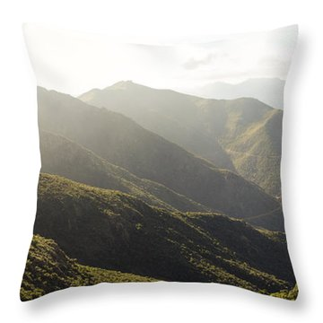 spanish mountain range, Malaga, Andalusia, Throw Pillow by Perry Van Munster