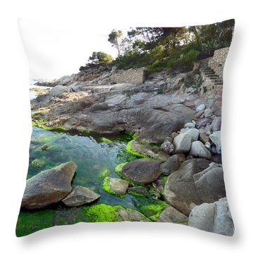 Throw Pillow featuring the photograph Spanish Seascape by Gregory Dyer