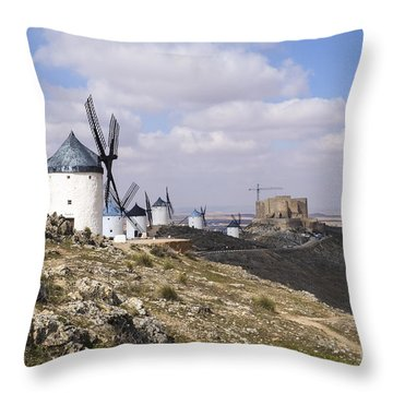 Spanish Windmills And Castle Of Consuegra Throw Pillow