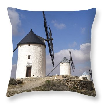 Spanish Windmills In The Province Of Toledo, Throw Pillow