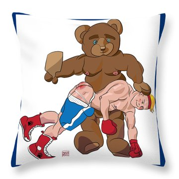 Spanking Bear Throw Pillow