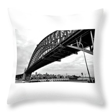 Spanning Sydney Harbour - Black And White Throw Pillow by Kaye Menner