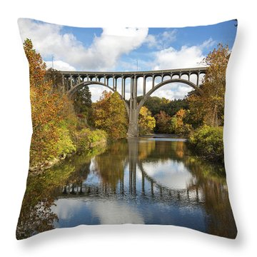 Spanning The Cuyahoga River Throw Pillow