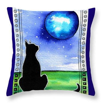 Sparkling Blue Bauble - Christmas Cat Throw Pillow