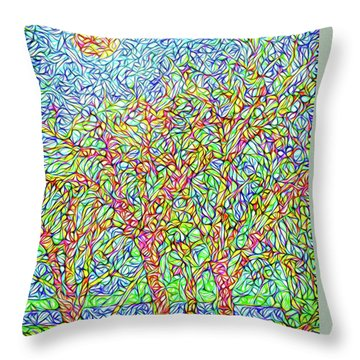 Throw Pillow featuring the digital art Sparkling Lakeside Trees - Park In Boulder County Colorado by Joel Bruce Wallach