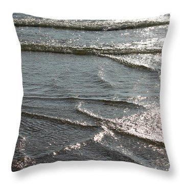 Sparkling Sunshine On Gentle Surf Throw Pillow by Carol Groenen