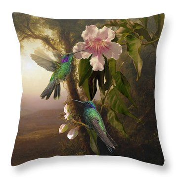 Sparkling Violetear Hummingbirds And Trumpet Flower Throw Pillow