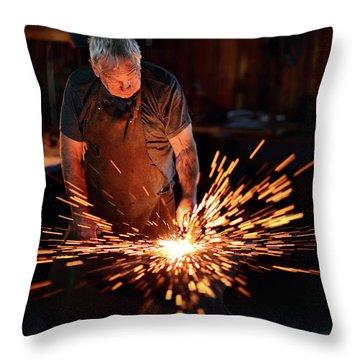 Sparks When Blacksmith Hit Hot Iron Throw Pillow
