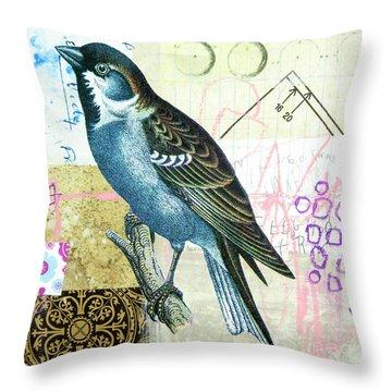 Throw Pillow featuring the mixed media Sparrow by Elena Nosyreva