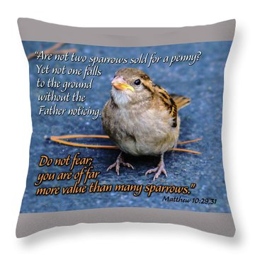 Sparrow Scripture Matthew 10 Throw Pillow
