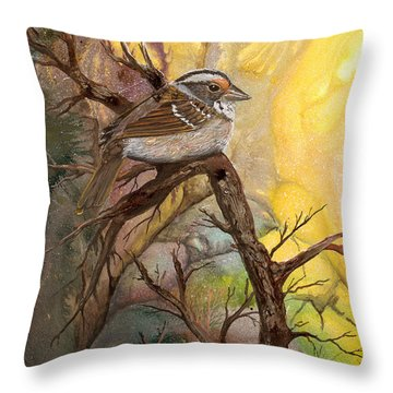 Throw Pillow featuring the painting Sparrow by Sherry Shipley