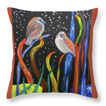 Throw Pillow featuring the painting Sparrows Inspired By Chihuly by Linda Feinberg