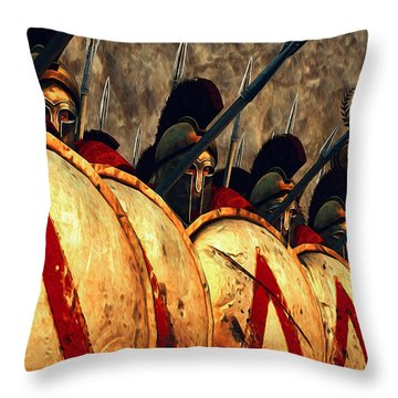 Spartan Army - Wall Of Spears Throw Pillow