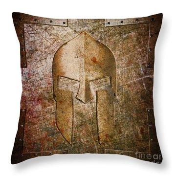 Spartan Helmet On Metal Sheet With Copper Hue Throw Pillow