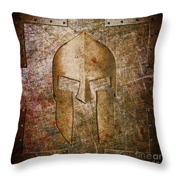 Spartan Helmet On Metal Sheet With Copper Hue Throw Pillow