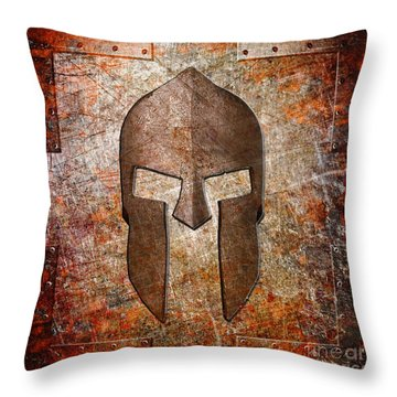 Spartan Helmet On Rusted Riveted Metal Sheet Throw Pillow