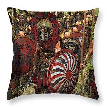 Spartan Warriors Before The Battle Throw Pillow