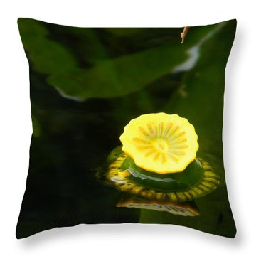 Spatterdock Reflections Throw Pillow by Warren Thompson