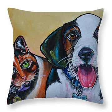 Throw Pillow featuring the painting Spay And Neuter by Patti Schermerhorn