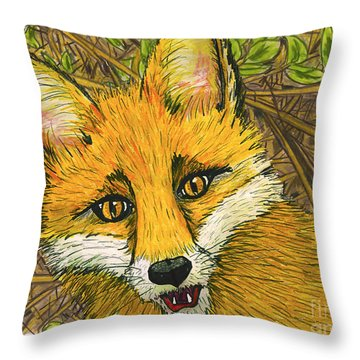 Speaking Fox Throw Pillow by Laura Brightwood