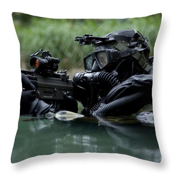 Special Forces Combat Diver Takes Throw Pillow by Tom Weber