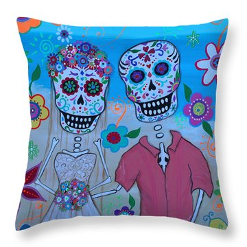 Throw Pillow featuring the painting Special Mexican Wedding by Pristine Cartera Turkus