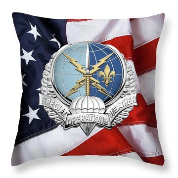 Special Operations Weather Team -  S O W T  Badge Over American Flag Throw Pillow by Serge Averbukh