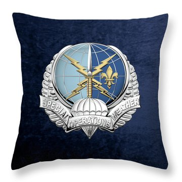 Special Operations Weather Team -  S O W T  Badge Over Blue Velvet Throw Pillow by Serge Averbukh