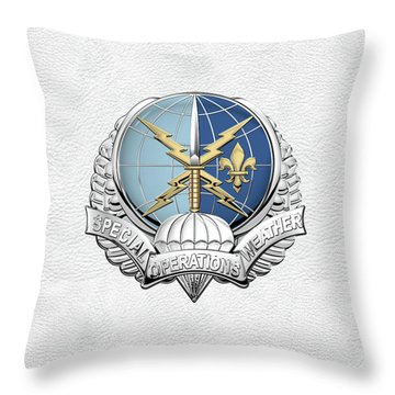 Special Operations Weather Team -  S O W T  Badge Over White Leather Throw Pillow by Serge Averbukh