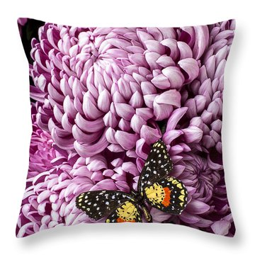 Speckled Butterfly On Red Mum Throw Pillow by Garry Gay