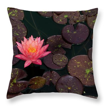 Throw Pillow featuring the photograph Speckled Red Lily And Pads by Dennis Dame