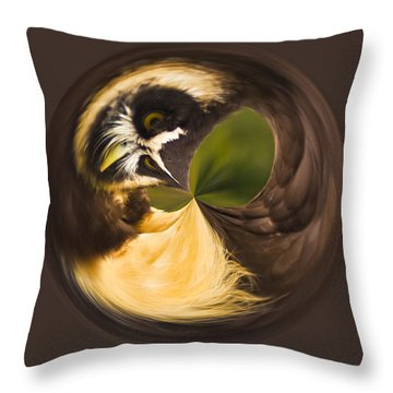 Throw Pillow featuring the photograph Spectacled Owl Orb by Bill Barber