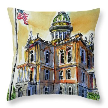 Throw Pillow featuring the painting Spectacular Courthouse by Terry Banderas