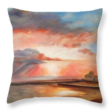 Throw Pillow featuring the painting Spectacular On Folkestone Harbour by Beatrice Cloake