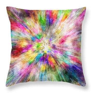 Spectral Tie Dye Starburst Throw Pillow