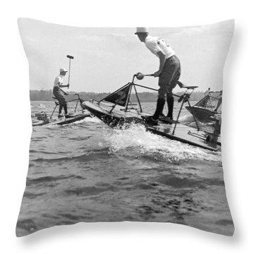Speedboat Polo Enthusiasts Throw Pillow