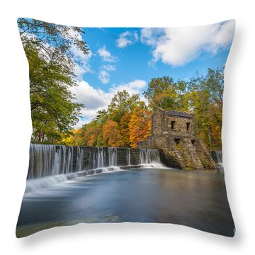 Throw Pillow featuring the photograph Speedwell Dam Fall Foliage by Michael Ver Sprill