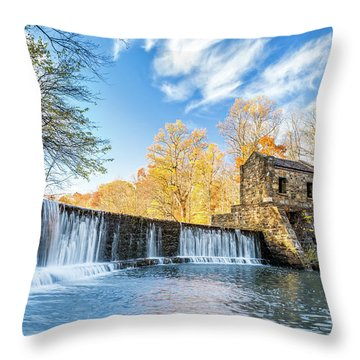 Throw Pillow featuring the photograph Speedwell Dam Waterfall by Mihai Andritoiu