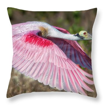 Spoonbill Winging It Throw Pillow