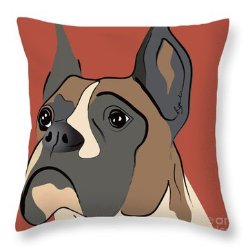 Spencer Boxer Dog Portrait Throw Pillow