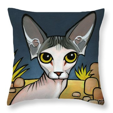 Sphinx Cat Throw Pillow by Leanne Wilkes