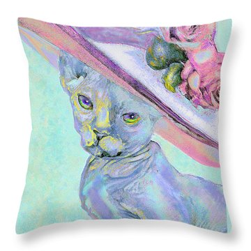 Throw Pillow featuring the digital art Sphinx In Pink Hat by Jane Schnetlage