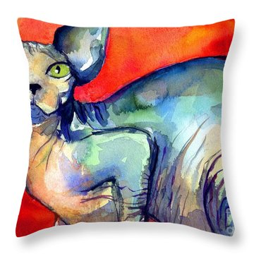 Sphynx Cat 6 Painting Throw Pillow by Svetlana Novikova