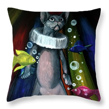 Sphynx Clown Throw Pillow
