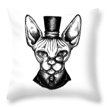 Sphynx Gentleman Throw Pillow
