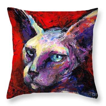 Sphynx Sphinx Cat Painting  Throw Pillow by Svetlana Novikova