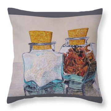 Spice Jars Throw Pillow